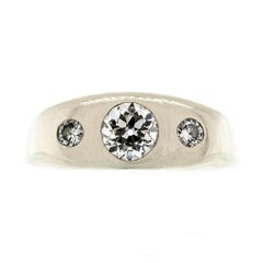 Men's Three-Stone Diamond and White Gold Ring