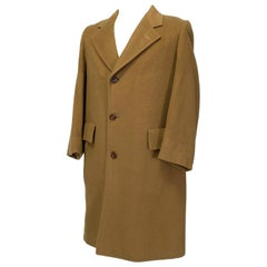 Men's Timeless Camel Mink and Cashmere Minimalist Topcoat - 40R, 1969