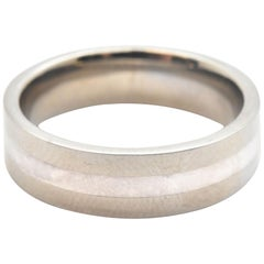 Men's Titanium and Sterling Silver High Polished Band