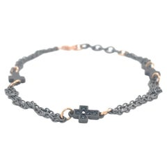 Men's Titanium Rose Gold Black Diamonds Cross Bracelet
