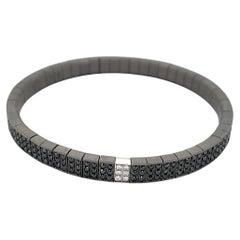 Men's Titanium White Gold Black Diamonds Flexible Bracelet