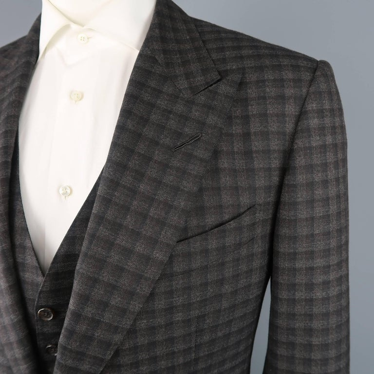 Tom Ford Suit Men S Grey And Brown Checkered Tartan Wool Three