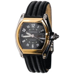 Men's Two-Tone Cartier Roadster XL Automatic Dial Black Adjustable Wristwatch