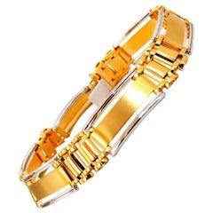 Men's Two-Toned Modern Brush and Hinge Link Bracelet 14 Karat