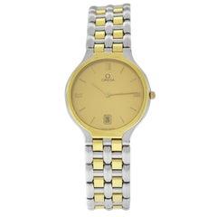 Men's Unisex Omega Classic Steel Gold Quartz Date Watch