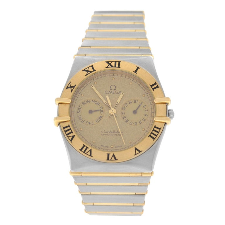 Men S Unisex Omega Constellation Manhattan Full Bar Gold Watch For