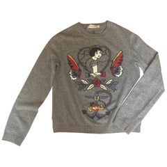 Men's Valentino Grey Sailor Tattoo Sweater in Wool Cashmere