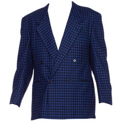 Mens Versace Blue Plaid Wool & Cashmere Size 42 1990's Blazer