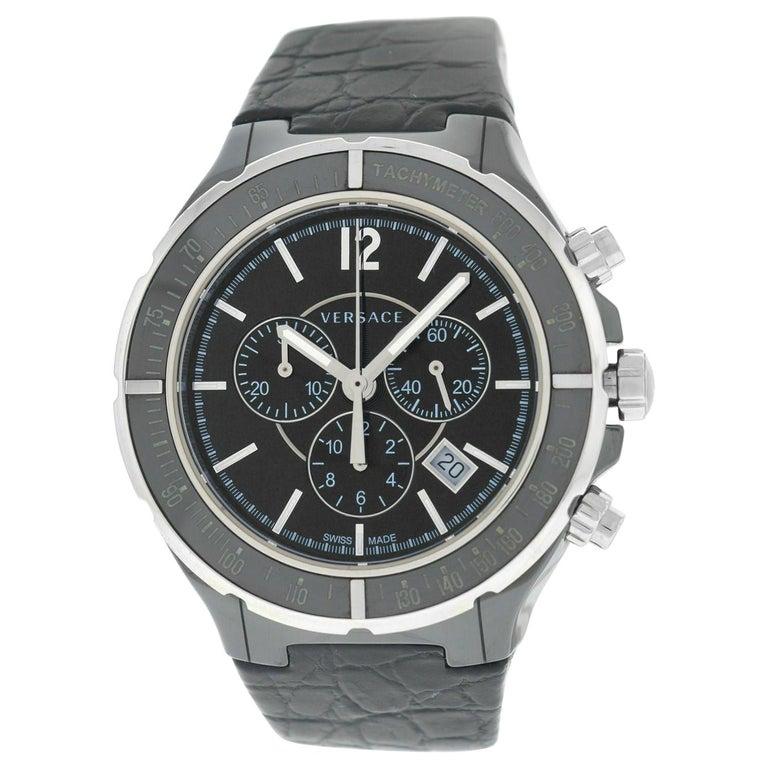 Men's Versace DV One 28CCS9D008 S009 Steel Ceramic Chrono Quartz Watch For Sale
