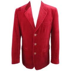 Men's VERSUS by GIANNI VERSACE 38 Red Velvet Lion Button Sport Coat