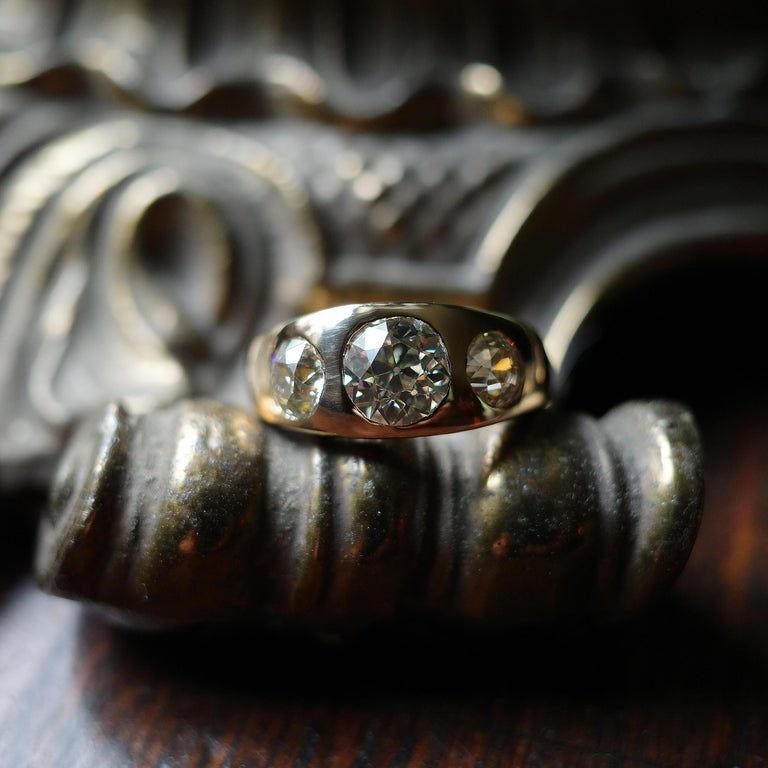 Men's 3 Carat Diamond Ring from Victorian Era Is Fusion of Fire And Class For Sale 11