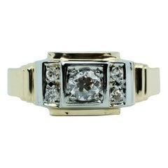 Men's Vintage 14 Karat White and Yellow Gold European Cut Diamond 5-Stone Ring
