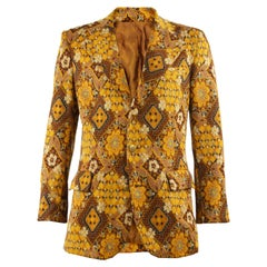 Mens Vintage 1970s Fashion Tapestry Patterned Blazer