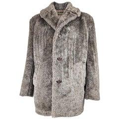 Mens Vintage Brown Faux Fur Coat, 1970s