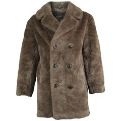 Men's Vintage Brown Faux Fur Coat with Double Breasted Buttons, 1970s