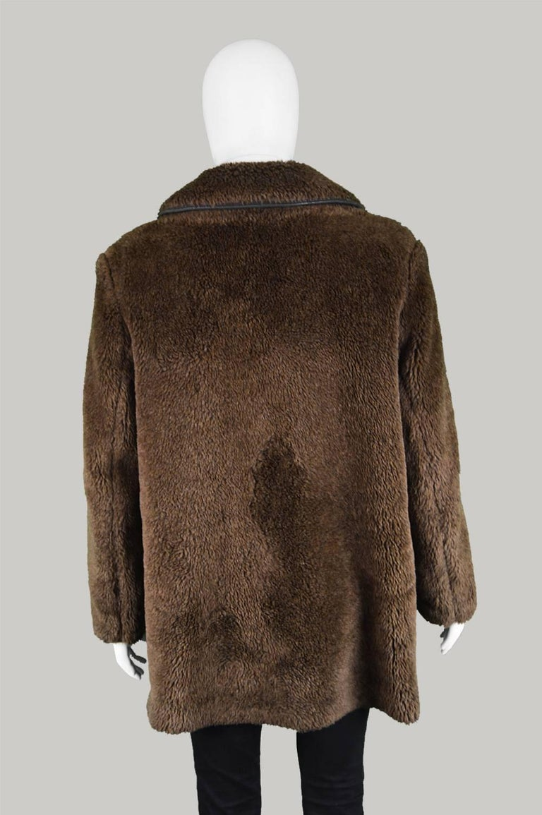 Men S Vintage Faux Fur Coat With Double Breasted Buttons