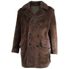 Men's Vintage Faux Fur Coat with Double Breasted Buttons, 1970s