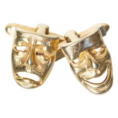 Men's Vintage Gold Comedy and Tragedy Theater Mask Cuff Links, 1960s