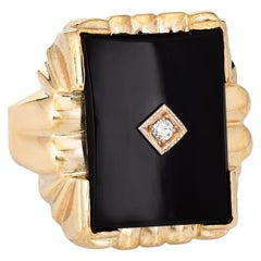 Men's Vintage Onyx Diamond Ring Square 10k Yellow Gold Estate Jewelry