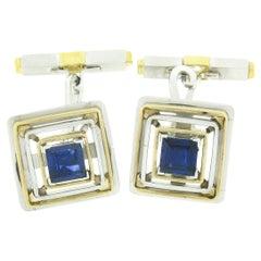 Mens Vintage Platinum 18k Gold GIA Sapphire Diamond Concentric Square Cuff Links