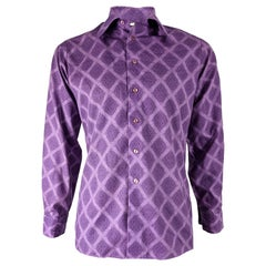 Mens Vintage Purple Mod Fashion Shirt, 1970s