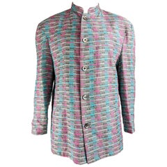 Mens Vintage Woven Tapestry 1980s Fashion Nehru Collar Jacket
