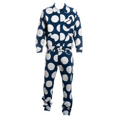 Men's Vivienne Westwood blue and white polka dot denim pant suit, SS 1985