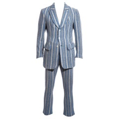 Men's Vivienne Westwood blue striped Harris Tweed suit, fw 1996