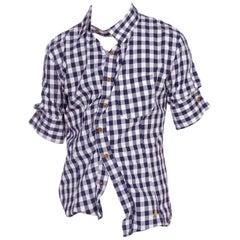 """2000S VIVIENNE WESTWOOD Blue & White Cotton Men's """"Drunken Button"""" Plaid Shirt"""