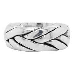 Men's Wedding Band, Sterling Silver Ring, Braided, Stylish, Wedding, USA