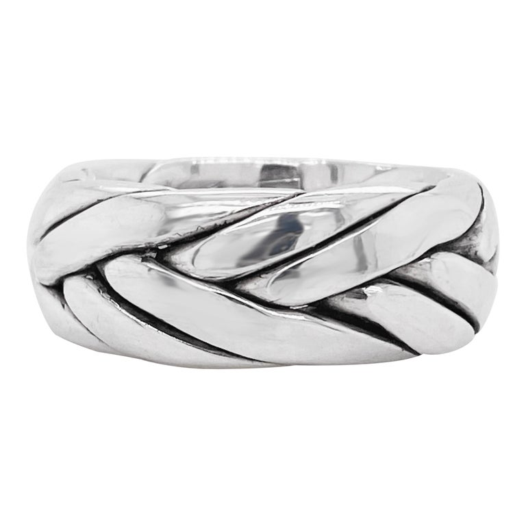 Men's Wedding Band, Sterling Silver Ring, Braided, Stylish, Wedding, USA For Sale