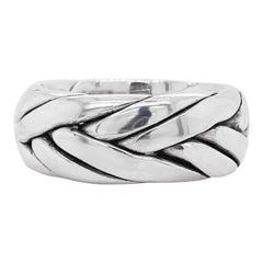Men's Wedding Band, Sterling Silver Ring, Braided, Stylish, Wedding, USA