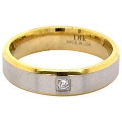 Men's Wedding Band Two Tone 18k White & Yellow Gold with Diamond