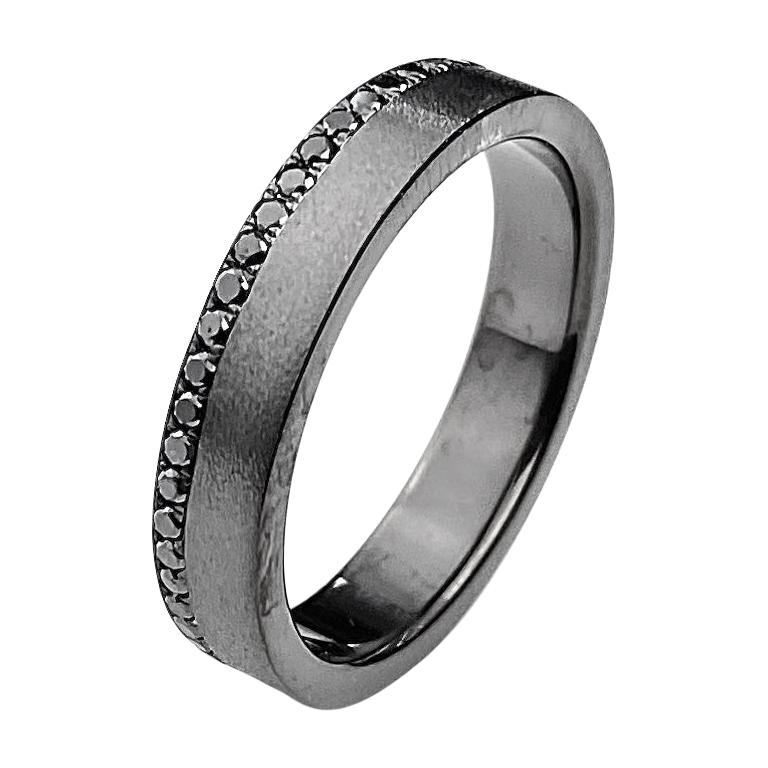 Men S White Gold Wedding Band With Black Rhodium Finish And Black Diamonds For Sale At 1stdibs