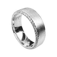 Men's White Gold Wedding Band with Diamonds Set on Beveled Edges