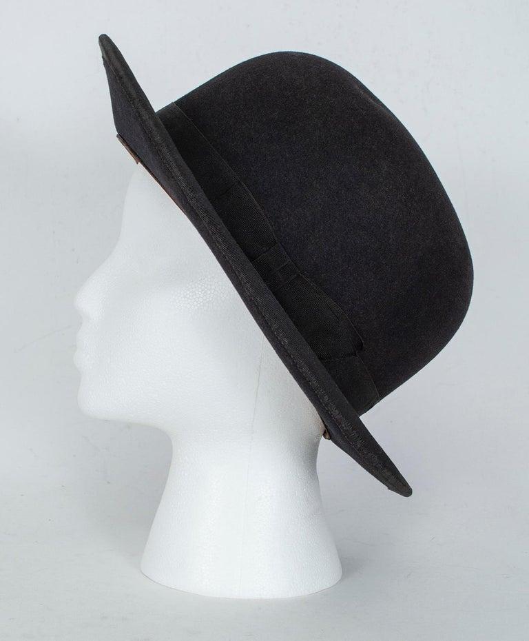 Men's William Lyons Black Fine Felt Bowler Hat – size 7 1/8, 1920s In Good Condition For Sale In Tucson, AZ