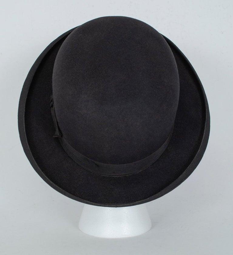 Men's Men's William Lyons Black Fine Felt Bowler Hat – size 7 1/8, 1920s For Sale