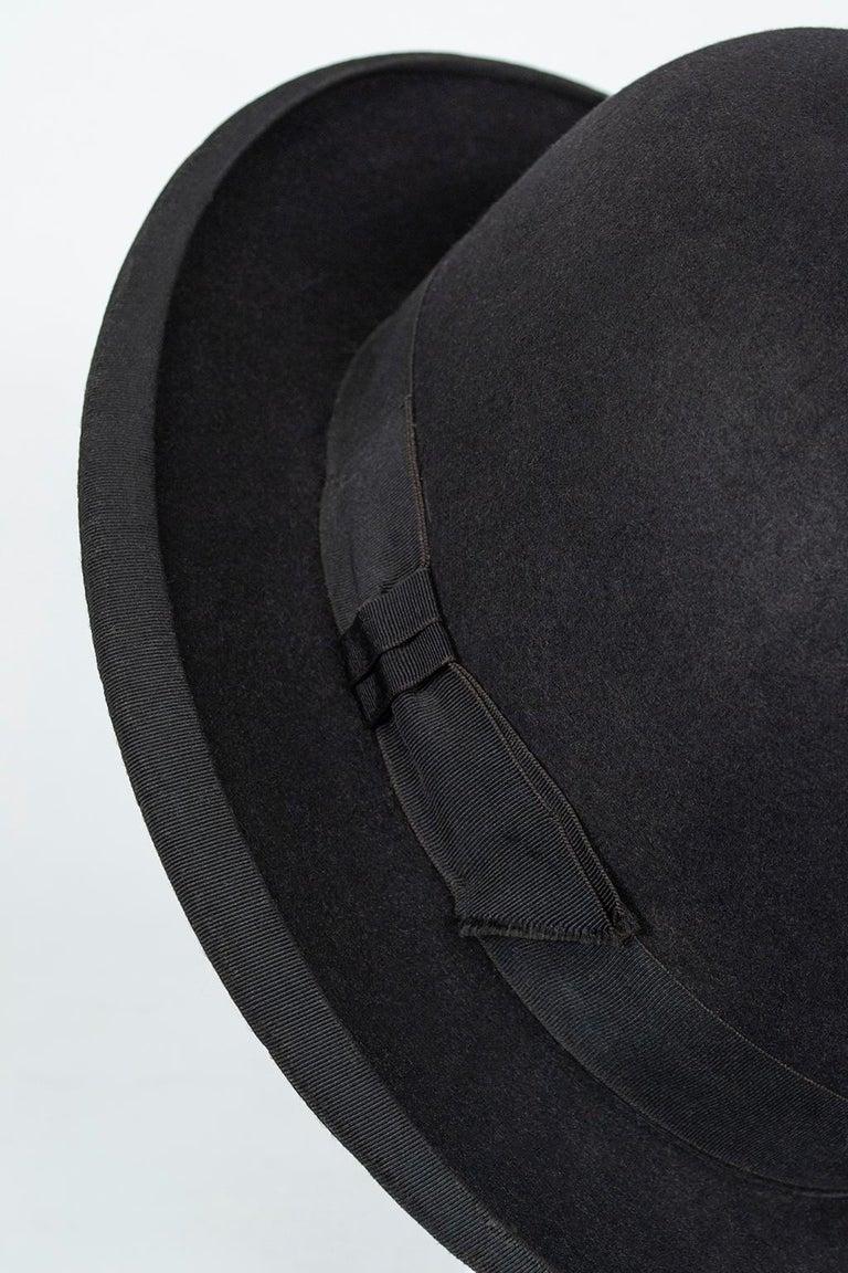 Men's William Lyons Black Fine Felt Bowler Hat – size 7 1/8, 1920s For Sale 1