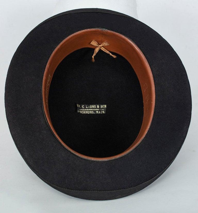Men's William Lyons Black Fine Felt Bowler Hat – size 7 1/8, 1920s For Sale 2