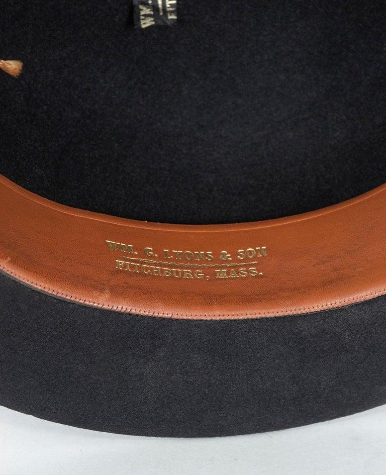 Men's William Lyons Black Fine Felt Bowler Hat – size 7 1/8, 1920s For Sale 5