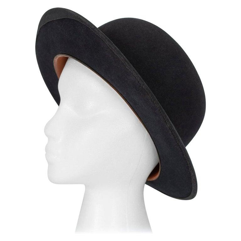 Men's William Lyons Black Fine Felt Bowler Hat – size 7 1/8, 1920s For Sale