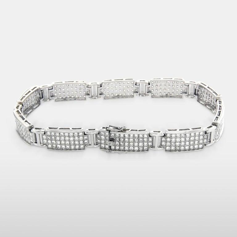 Men S Women 14 Karat White Gold With 5 80 Carat Diamonds Pave Bracelet