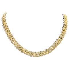 Men's Yellow Gold Diamond Cuban Link Chain