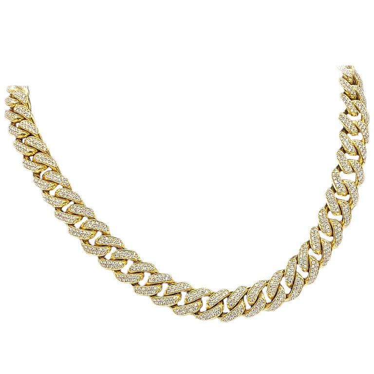 Cuban Link Chain For Sale >> Men S Yellow Gold Diamond Cuban Link Necklace