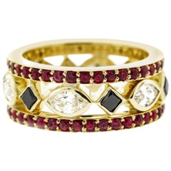 Men's Yellow Gold Diamond Wedding Band w/White Diamonds, Black Diamonds & Rubies