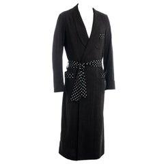 Men's Yohji Yamamoto grey wool and silk polkadot evening robe, fw 2009