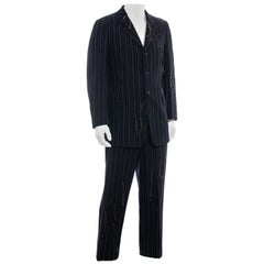 Men's Yohji Yamamoto navy frayed pinstriped wool suit, fw 2003