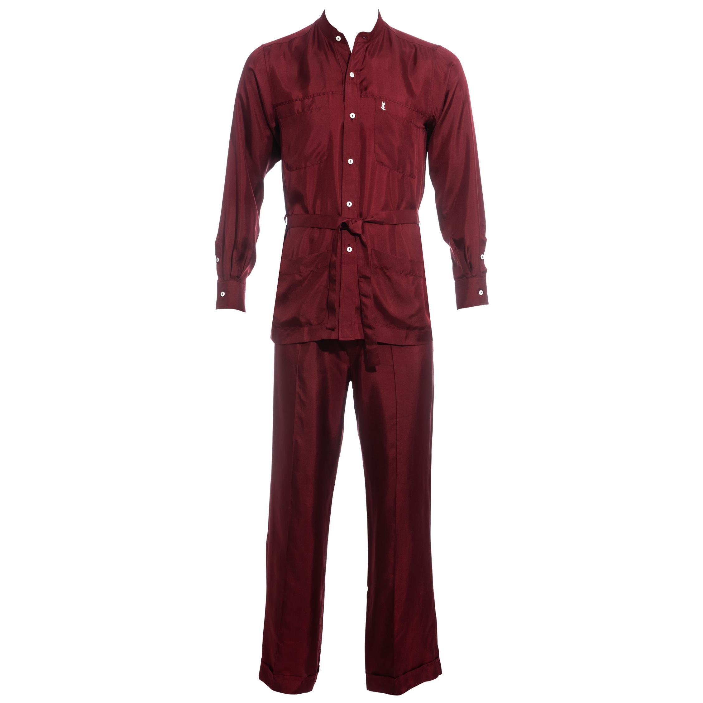 Men's Yves Saint Laurent red silk leisure suit, ss 1978