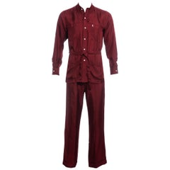 Men's Yves Saint Laurent red silk leisure suit, ss 1978