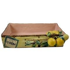 Menton French Faïence Provençal Lemon & Cicada Shipping Crate Souvenir Tray